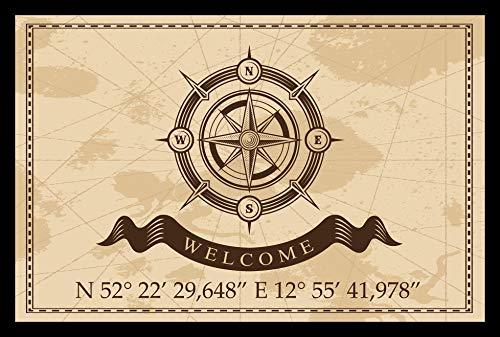 Individuelle Fußmatte Kompass mit Ihren Koordinaten ideal zur Hauseinweihung 105 x 70 cm
