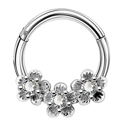 COCHARM Daith Earring for Women 16G Septum Piercing Hinged Segment Rings 316L Stainless Steel Flower Tragus Ring Hoop