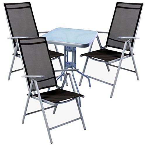 Mojawo Cendrier Bistro Ensemble 4 pièces Table bistro en métal 60 x 60 cm h70 cm + 3 chaises pliantes aluminium/textile Argent/anthracite