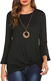 Fankle Women's Casual Tops Long Bell Sleeve Crewneck Twist Knot Tee Shirts Blouse Tunics