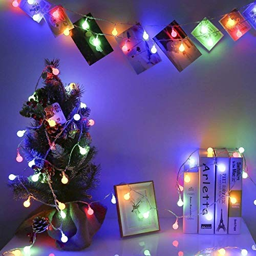 Globe String Lights, 10m 100 LED Indoor Fairy String Lights,Battery Powered with 8 Lighting Modes Decorative Lighting for Home/Wedding/Christmas (Multi-Color) (Color : Multi-Color)