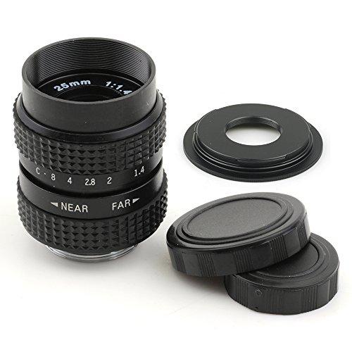 (バシュポ) Pixco CCTVレンズ 25mm f 1.4 Cマウントテレビカメラレンズ - Micro Four Thirds カメラ (ブラック) +Cマウントアダプター 撮影 用 (C-M4 3)