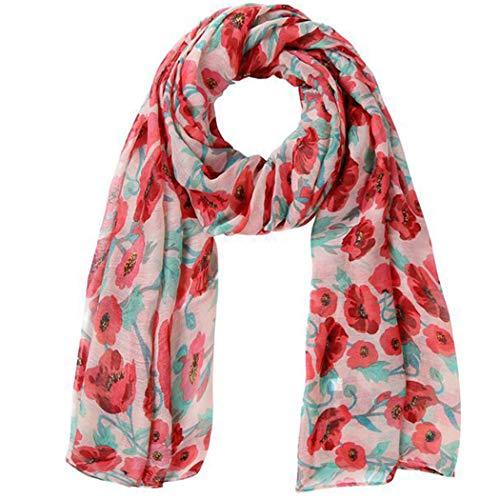 YONGYONG-scarf Neue Mohn Muster Schal Paris Garn Schal Print Schal Damen Schal Blume Schal 90 * 180 cm (Color : Pink)
