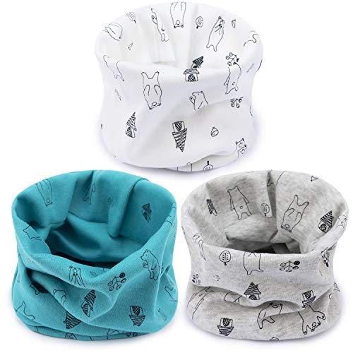 Adorel Bufanda Cuello Alto Algodón para Bebé Paquete de 3 Oso