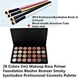 RY@ 28 couleurs de fard à paupières fumé / amorce de base / fondation / Nja / bronzante professionnelle palette cosmétique avec une brosse 4