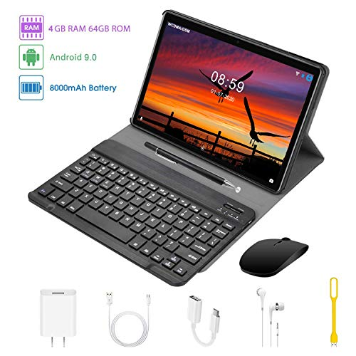 Tablet 10.1 Pulgadas 2 en 1 Tablets PC 4G/WiFi, 4GB RAM+64GB ROM/128GB Android 9.0 8000mAh Quad-Core Dual SIM 8MP+5MP Cámara Bluetooth Teclado BT/GPS/OTG Tablets de función de Llamada (Nergo)