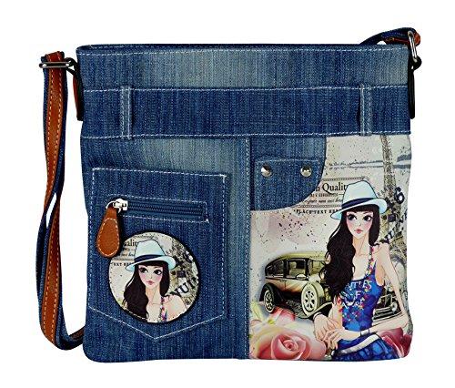 yourlifeyourstyle Jeans Look Umhängetasche mit aufgenähten Patches, Nieten und Print auf Kunstleder - Maße ohne Riemen 29 x 26 cm - Damen Mädchen Teenager Tasche - Jeanshosen Bund (blau Hut)