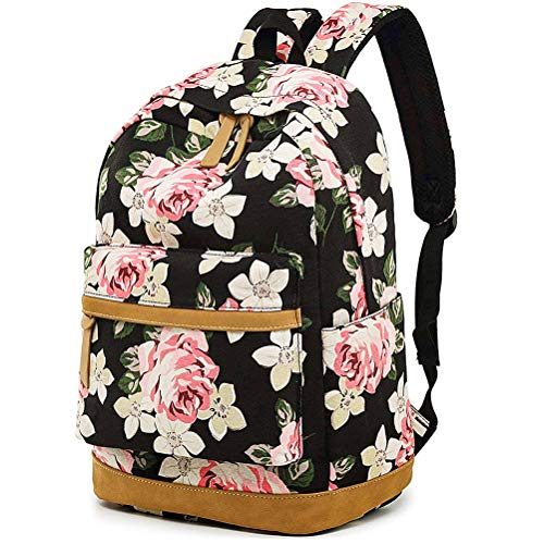 MCWTH Casual Laptop Backpack Canvas Travel Daypack School Bag Bookbags for Teen Girls and Women (Big-Flower)