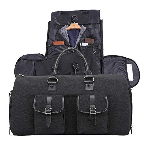 Neuleben Neuleben Groß Reisetasche Anzugtasche 2in1 Weekender Tasche mit Schuhfach Handgepäck Kleidertasche Damen Herren für Reise Geschäftsreise Urlaub (Schwarz)