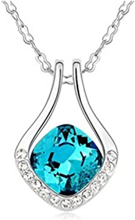 Latigerf Horseshoe Pendant Necklace White Gold Plated Swarovski Elements Crystal Navy Blue