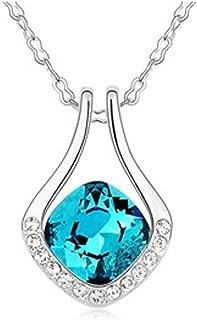 Latigerf Horseshoe Pendant Necklace White Gold Plated Swarovski Elements Crystal Navy Blue