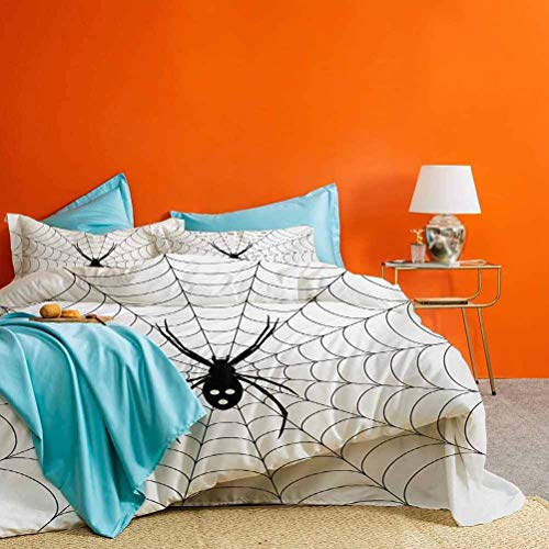 Spider Web Bed Set Poisonous Bug Venom Thread Circular Cobweb Arachnid Cartoon Halloween Icon Best Hotel Luxury Bedding Black White 3 Piece (1 Duvet Cover and 2 Pillow Shams) California King Size
