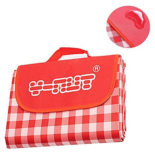 Y-Nut Manta de picnic grande impermeable al aire libre para la familia, camping, parque de gran tamaño, a prueba de arena, manta portátil de picnic, color rojo