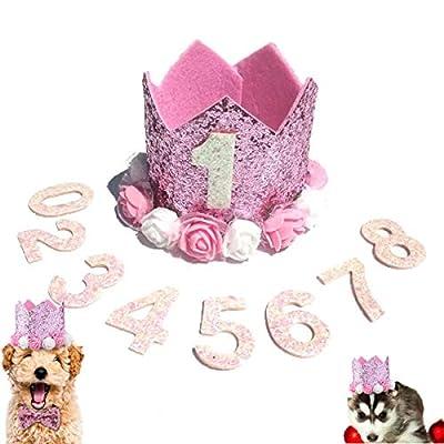 N\A Dog Birthday Hat Pink Crown Birthday Party Hat Pet Birthday Number for Girls Boys Dog or Puppy Birthday Decor