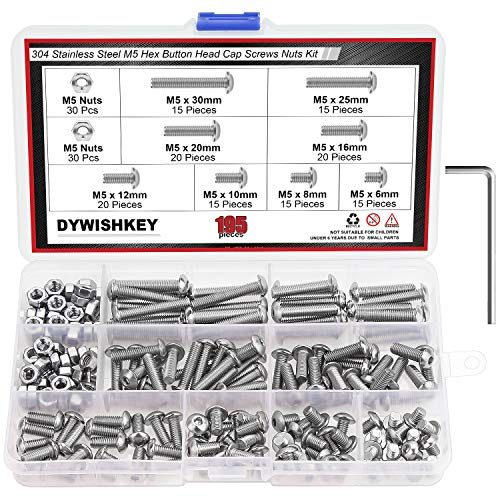 DYWISHKEY 195 Pieces M5 x 6mm/8mm/10mm /12mm/16mm/20mm/25mm/30mm Stainless Steel 304 Hex Button Head Cap Bolts and Nuts Kit