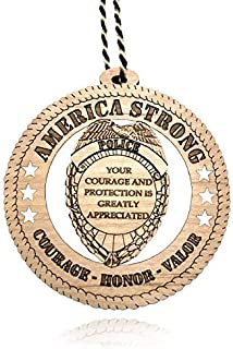 Jolette Designs Police Gifts for Men and Women - Natural Wood Police Officer, Law Enforcement Ornament - Hanging Courage -...