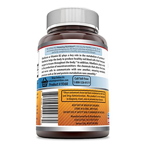 Amazing Formulas Riboflavin Dietary Supplement 400 Milligrams 120 Capsules (Non-GMO,Gluten Free) - Promotes Healthier Blood , Nervous System, Boost Energy and Metabolism