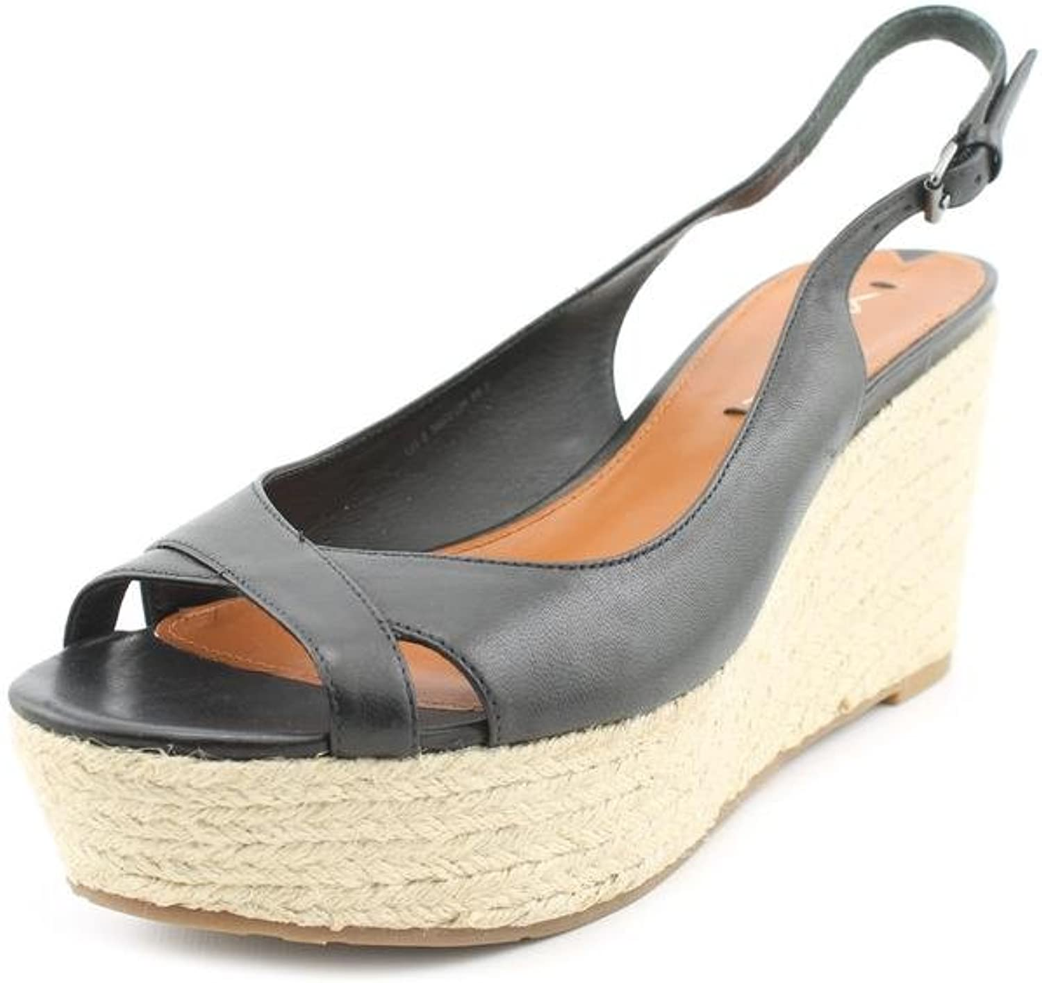 Via Spiga Luciana Womens US Size 8.5 Black Leather Wedge Sandals shoes