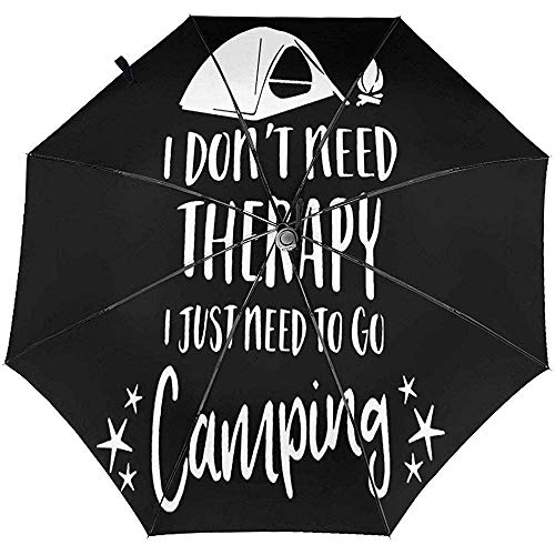 Merle House Ich Brauche Keine Therapie Ich Brauche nur Camping zu gehen Dreifach-Regenschirm Automatischer Regenschirm Auto Öffnen Schließen Faltbarer Reiseschirm Tragbar mit UV-Beschichtung