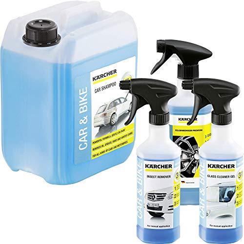 KÄRCHER Auto Wasch-Set bestehend aus 1x Insektenentferner, 1x Felgenreiniger, 1x Gel-Glasreiniger und 1x Autoshampoo 5l