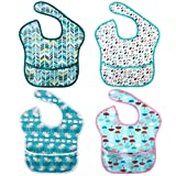 <span class='highlight'><span class='highlight'>Discoball</span></span> 4 Pcs Baby Bibs Unisex Waterproof Bib Washable Feeding Bibs Stain and Odor Resistant Weaning Bibs Absorbent Drooling Bibs for Toddle Infant 6-24 Months