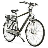 Bicicleta eléctrica de aluminio para hombre, 28 pulgadas, cambio de buje Shimano Nexus de 8 velocidades, batería de 15,6 Ah con 5 niveles de apoyo del motor, pantalla LCD y marco de aluminio, color negro