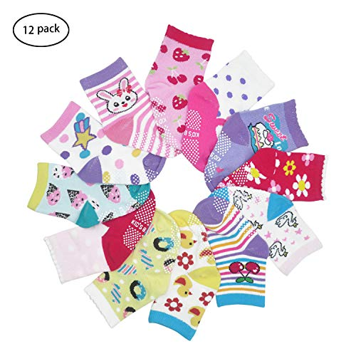 HYCLES 12-36 Months Non Skid Toddler Girl Boy Socks 12 Pairs Infant Baby Grips Socks Anti Skid Cotton Cute Cartoon Car Animals Kid Socks, 1-3 Years, Flower Style(12 Pairs)
