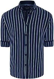 Tarocash Men's Robert Stripe Shirt Regular Fit Long Sleeve Sizes XS-5XL for Going Out Smart Occasionwear