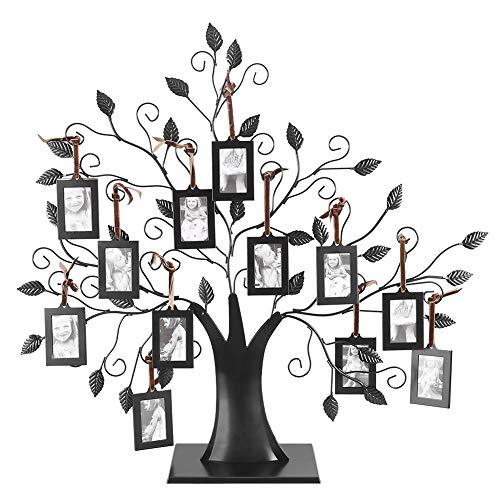 Asixx Familienstammbaum-Bilderrahmen, modischer Metall-Familienstammbaum, Familienfotos-Rahmenbaum mit hängenden Bilderrahmen Geschenk für Eltern, Schwestern und Freunde(M)