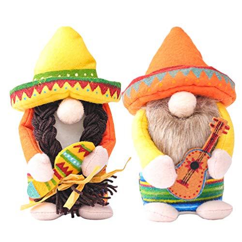 VALICLUD 2PCS Urlaub Gnomes Dekoration Hawaii Paar GNOME Mit Ukulele Schwedisch Tomte Skandinavischen Gnomes Nordic Plüsch Elf Ornament Luau Sommer Mexikanische Fiesta Party