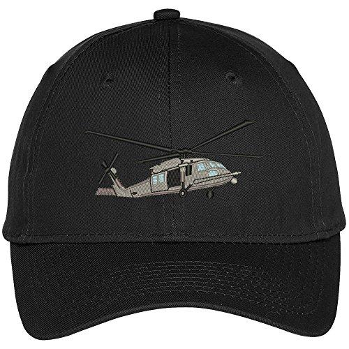 Trendy Apparel Shop Black Hawk Helicopter Embroidered Snapback Adjustable Baseball Cap - Black
