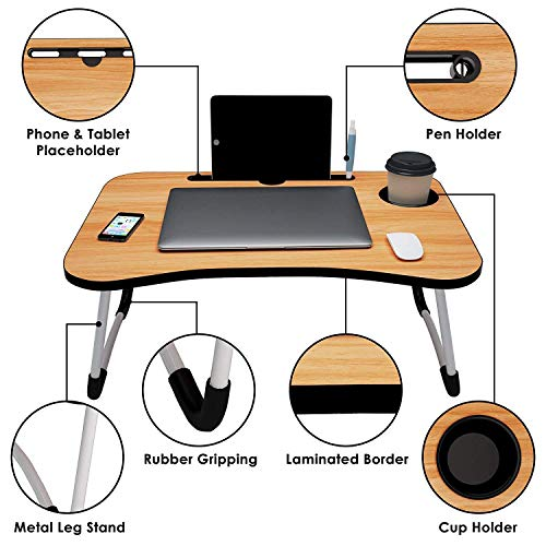 White Parrot Foldable Bed Study Table Portable Multifunction Laptop Table Lapdesk for Children Bed Foldabe Table Work Office Home with Tablet Slot & Cup Holder Bed Study Tab Wood Coloured