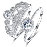 Psiroy 925 Sterling Silver Cubic Zirconia Filled Bridal Ring Sets Wedding Band for Women Size 6