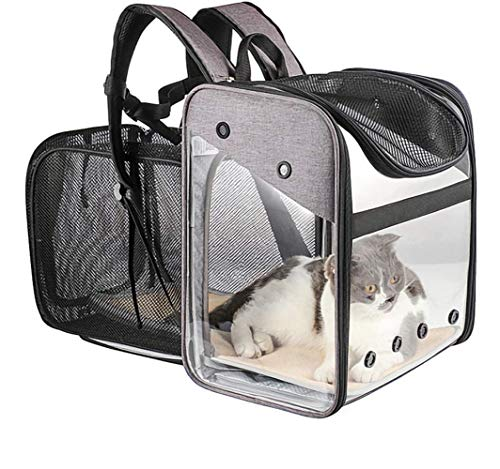 PETEMOO Pet Carrier Backpack, Expandable Portable Foldable Backpack Carrying Dogs Cats...