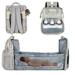 Lifelf Baby Wickelrucksack als Kinderbett mit großer Kapazität Wickelunterlage Kinderwagengurte, wasserdichte Windeltaschen Rucksack Babytasche Reiserucksack, für Mama & Papa (Grau) (grau)