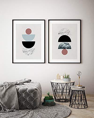 MILUKA Pack 2 Láminas Decorativas para enmarcar colección Geometric | Geometric Sunrise - Geometric Sunset | Tamaño 50x70cm