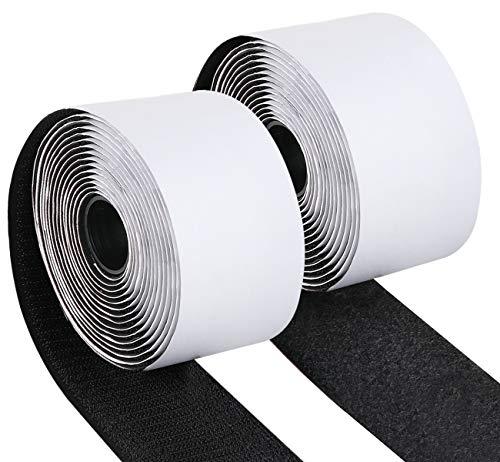 Klettband Selbstklebend 50mm*3m Doppelseitig Klebendes mit Klettverschluss extra stark für Wände und Boden, Tür, Gläser, Metalle, Spiegel - Schwarz