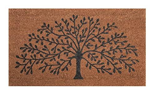 Zerbino ingresso casa, tappeto ingresso interno, zerbino ingresso esterno, zerbino in fibra di cocco naturale, tappeto asciugapassi 40x70 (Tree of life)