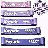 Keyork Bandas Elásticas Fitness/Bandas de Resistencia,[con Textura Antideslizante] Set de 5 Cintas Elásticas Fitness y Musculación de Látex Natural- (púrpura-5PCS)