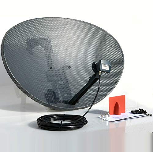SSL Satellites 80CM Zone 2 Freesat HDR Satellite Dish DIY Self Installation Kit,Latest Dish with Quad LNB,10 Meter RG6 Black coax Cable all necessary Brackets,Bolts and SATELLITE FINDER