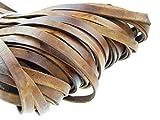 esnado Correa de piel plana, 10 mm x 2,5 mm, marrón antiguo, 5 metros