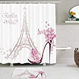 SHENGLIPINK Stoff Duschvorhang & Matten Set,Rosa Frankreich-Schuhe mit hohen Absätzen auf der Schmetterlingsblume des Eiffelturms Paris,wasserdichte Badvorhänge mit 12 Haken,utschfeste Teppiche