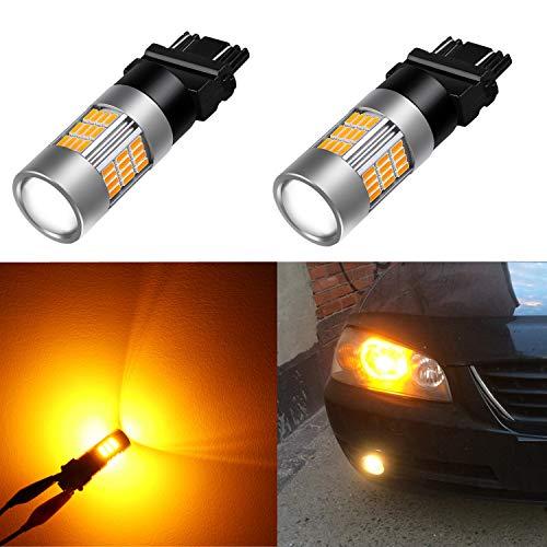 Alla Lighting Super Bright LED 3157 Bulb High Power 4014-SMD 4157 3457 3156 3057 3157 LED Bulb 3457A 4157NA 3157A Amber Yellow LED Turn Signal Blinker Light Bulbs Lamp (Set of 2)