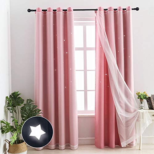 Chuan Jiang M Princess Pink Curtains Hollow-Out Stars Dual Layer Grommet Top Mix and Match Blackout Curtains with White Sheer Lace for Living Girl Room(1 PC,52 W x 63L,Pink)