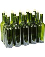 Vinflaskor med/utan korkar tomma glasflaskor 750 ml flaska sprit vin 3 färger, olivgrön, 32 st. med korken