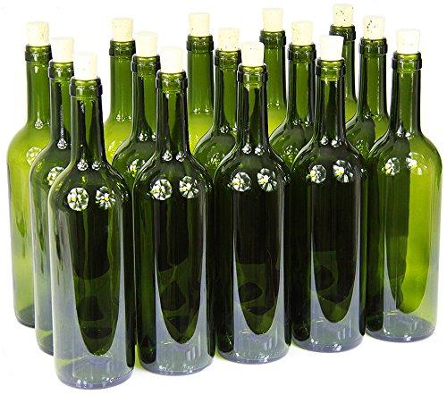 Weinflasche 750 ml ohne/mit Korken Glasflasche Leere Flasche Likör Wein 3 Farben (8 STK. mit Korken, Olivgrün)