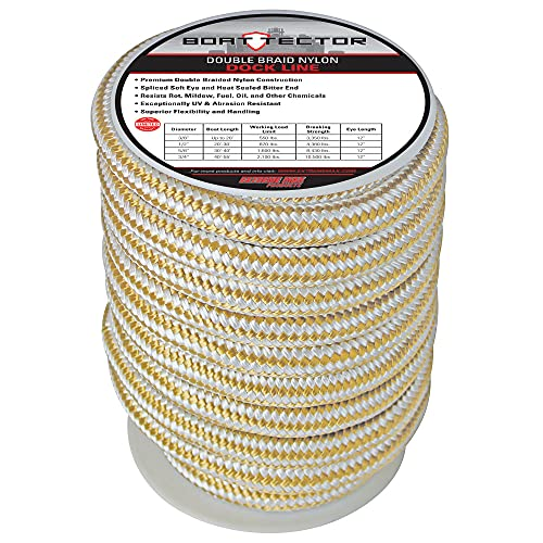 """Extreme Max 3006.2324 BoatTector Double Braid Nylon Dock Line - 3/4"""" x 40', White & Gold"""