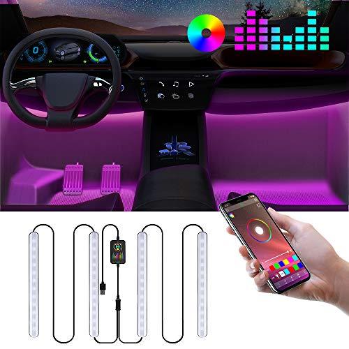 Auto LED Innenbeleuchtung, RGB Ambientebeleuchtung Auto mit APP, Auto LED Fußraumbeleuchtung Auto Innenraum LED Strip Atmosphäre Licht mit USB Port und Musik Steuerbar