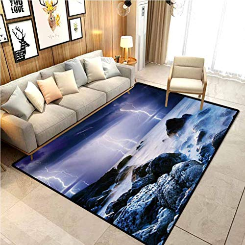 Nature Nursery Rug Home Decor Mats Summer Storm Flashes Over The Rocks in Ocean Nightmare Theme Weather Nature Image Carpet Comfy Bedroom Home Decorate Floor Kids Playing Mat Purple Grey 3 x 5 Ft
