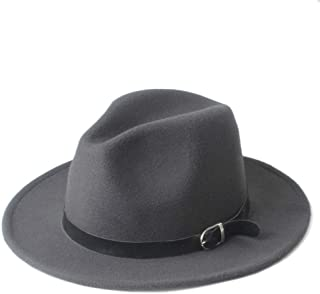 SHENTIANWEI Men Women Winter Fedora Hat with Black Leather Belt Wide Brim Jazz Hat Panama Fascinator Hat Size 56-58CM